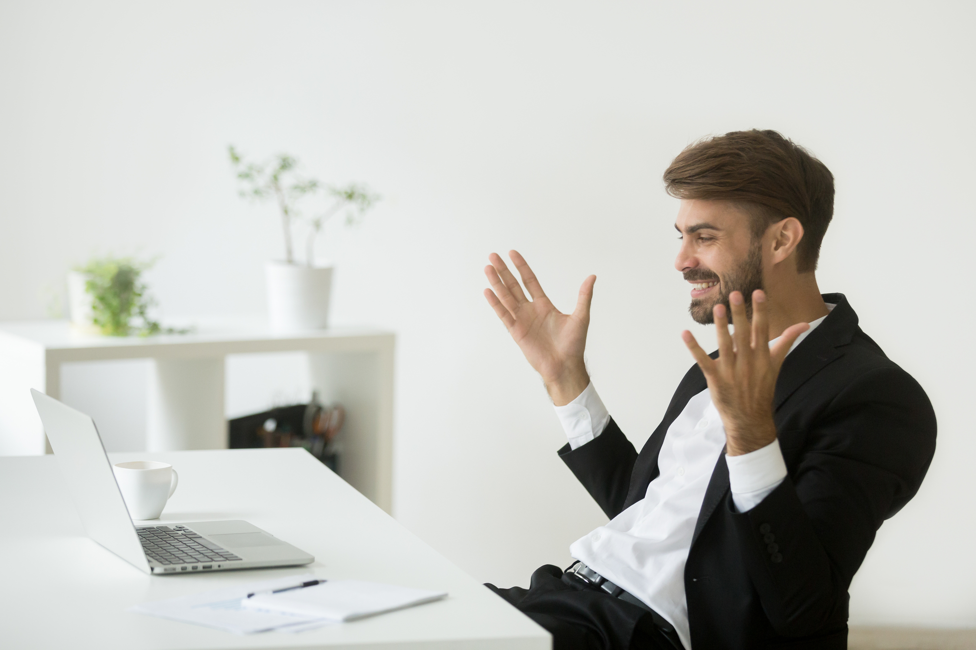 Happy company ceo satisfied with online achievement looking at l-1