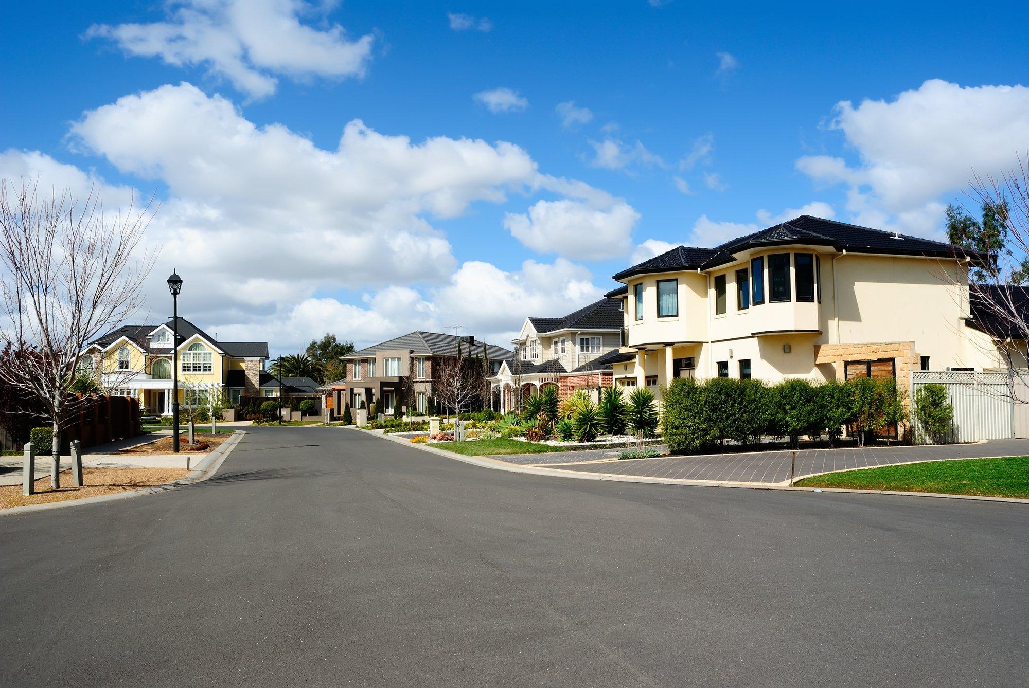Modern houses in a suburban neighborhood