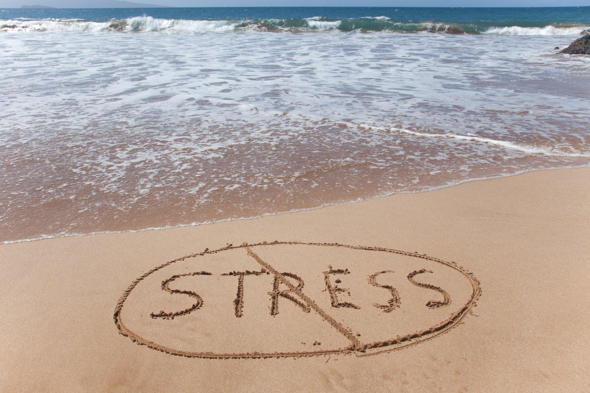 No stress! Written in sand on beach