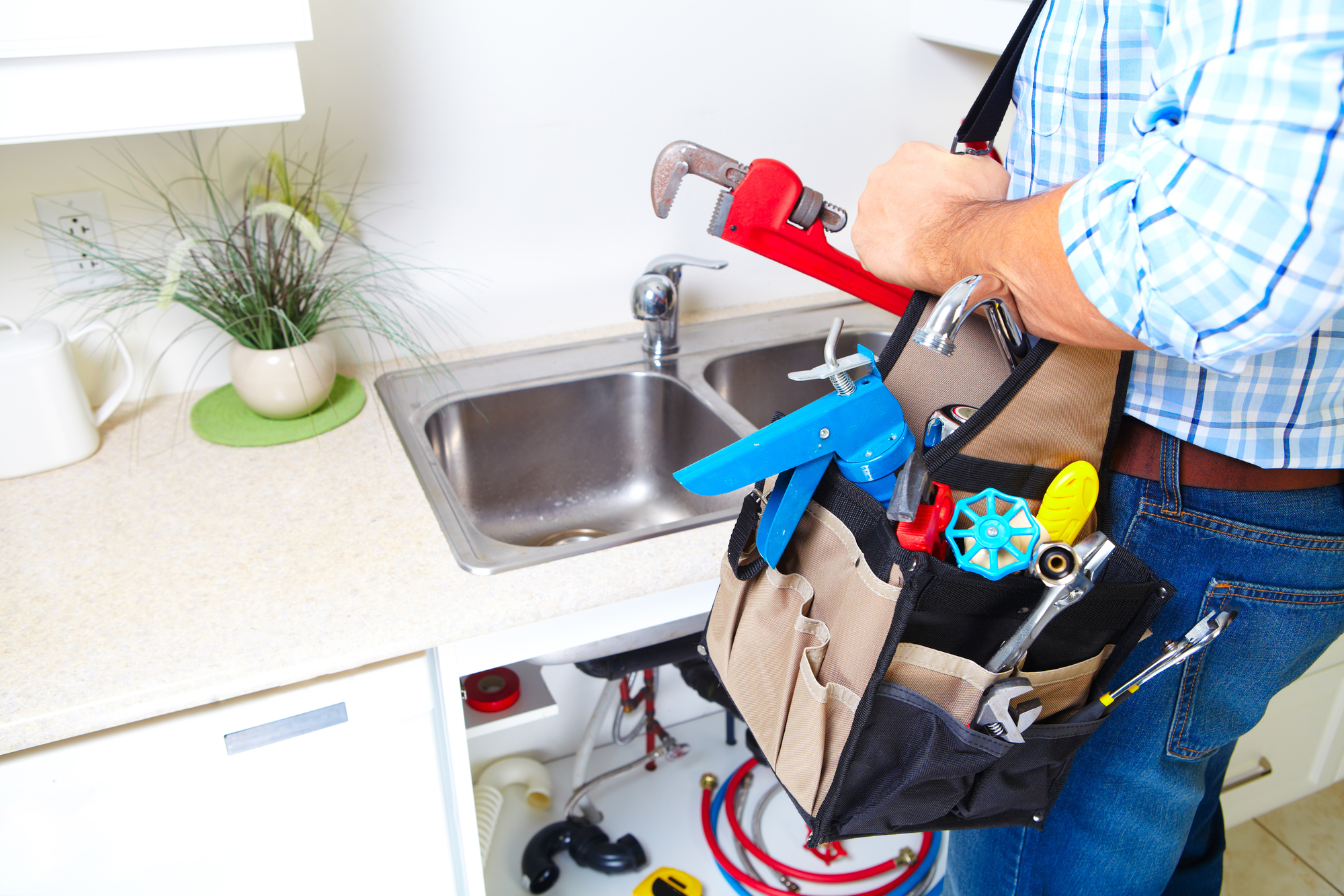 Plumber on the kitchen